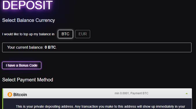 7bitcasino deposit page