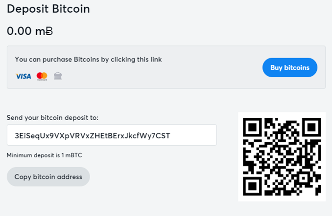 Bitcasino deposit page