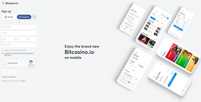Bitcasino signup page