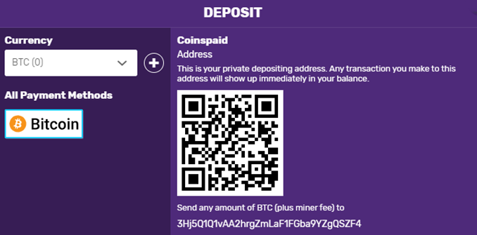 Bitcoincasino.io deposit form
