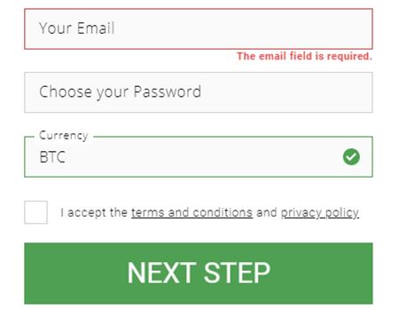 Bitstarz signup form